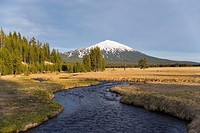 Stream at Sparks lake with Mt. Bachelor in the background. Oregon