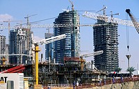 Expansion of the city: ambitious residential projects. Emirate of Dubai. United Arab Emirates on the Persian Gulf