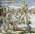 Colossus of Rhodes  Historical artwork showing the vast bronze statue of the Greek sun god Helios later identified with Apollo, the god of light, at t...