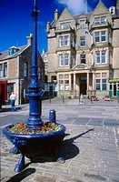 Hotel and Square.Town of Stromness, west of the Mainland. Orkney Islands. Scotland. United Kingdom