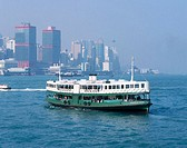 Star ferries crossing Victoria harbour. Hong Kong