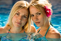 Two women in pool