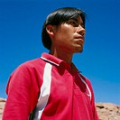 Chile, San Pedro de Atacama man young, Atacamena, seriously, semi-portrait, no models release, South America, big north, desert-region, Atacamena, peo...