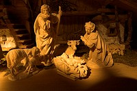 Christmas-manger, carved, Maria, Joseph, Christ-child, Christmas, Christmas time, Christmas-history, manger, carving, Christian, Christmas-like, stall...