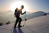 Austria, Tyrol, Scharnitz, Pleisen, woman, snowshoe-hike, upward, back light, winters, mountains, Pleisenspitze, snow-surface, hillside, snow, sportsw...