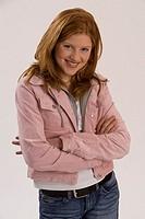 Girls, red-hairy, smile, poor, semi-portrait, crosses series, people 10-15 years 13 years teenagers teenager-girls, long-haired, jeans-jacket pink, ga...