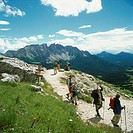 Italy, South-Tyrol, models steep track, hikers, no Latemar, mountain, release, Dolomites, people, mountain-hikers, hiking, mountain-hiking, activity, ...