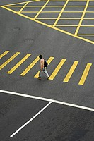 Crosswalks, passer-by, man, roadway, marking, Asia, China, Hong Kong, 03/2006