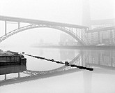 Lithuania, Klaipeda, river Dange, bridge, pipelines, Farbik, fog, s/w, Memel, city, economy, industry, industry-business, buildings, work-buildings, t...