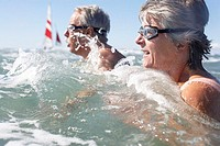 Sea, senior-pair, swimming-glasses, swims, at the side, detail, series, people, seniors, pair, 60-70 years, waves, breakers, water, water-sport, sport...