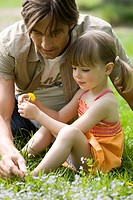 Father, daughter, meadow, sits, dandelion, views, broached, people, man, parent, 30-40 years, child, toddler, girls, 3-5 years, leisure time, together...