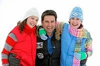 Man, women, laughs, arm in arm, semi-portrait, series people 20-30 years, three, friends, friendship, fun, liveliness, enjoyments, winter-clothing, wi...