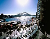 Australia, Sydney, city-opinion, Harbour bridge, Circular Quay, promenade New South Wales Down Under city city bridge, bridge-construction, constructi...