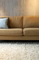 modern comtemporary loft interior of sofa and shag rug