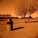 Resting place, desolate, trash cans, shadows, landscape, shrubs, monochrome, dries up USA Yuma, desert, dryness, human-empty, concept, trip, travel th...