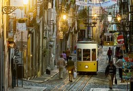 Bica cable car in Bairro Alto in the evening, Lisbon. Portugal