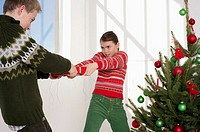 Girl and boy fighting for a Christmas present next to a Christmas tree
