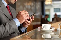 Businessman using a palm in a cafe