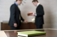 Two businessmen standing in an office, a book in the front