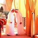 Arab men rubbing their noses traditional greeting