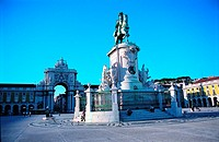 Equestrian statue of Don Jose on Praca do Comercio, Lisbon, Portugal