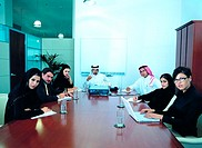 Meeting of Arab businesspeople in the boardroom