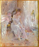 fine arts, Morisot, Berthe 1841 _ 1895, painting, Young woman fastening her stockings, 1880, oil on canvas, privat collection, Paris, French, impressi...