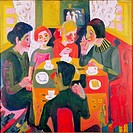 fine arts, Kirchner, Ernst Ludwig, 1880 _ 1938, painting, Kaffeetisch, coffee table, 1923, oil on canvas, 119 cm x 120 cm, Folkwang museum, Essen, his...