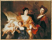 fine arts, Largilliere, Nicolas de, 1656 _ 1746, painting, family portrait of the artist, circa 1704, oil on canvas, 128 cm x 167 cm, hall of arts, Br...
