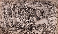 fine arts, Duvet, Jean 1485 _ circa 1570, copper engraving, La chasse royale attaquée par la licorne The royal hunting party being attacked by the uni...
