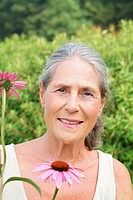 Garden, senior, flowers, smells, portrait, series, people, seniors, woman, 60-70 years, grey-haired, laughs, cheerfully, happily, plants, ornament-flo...