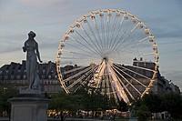 France, Paris, Jardin de Tuileries, statue, giant-wheel, illumination, twilight, city, capital, destination, sight, park, amusement park, driving-busi...