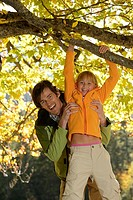 Father, daughter, autumn, tree,