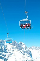 Titlis, near murky lake, ski, skiing, chair lift, ski lift, aerial cable railway, winter sports, winter, mountains, Al
