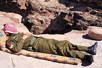 Petra, man, guard, security officer, overseer, lookout, uniform, sleeping, sleeping, heat, midday heat, nap, official,