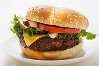 Cheeseburger with tomato, onions and gherkin