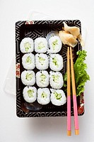 Maki sushi with cucumber to take away