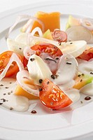 Melon and tomato salad with mozzarella
