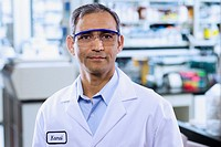 Indian male scientist with protective eyewear
