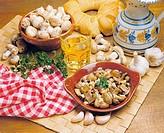 Salted mushrooms with garlic