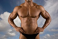Close up of male body builder