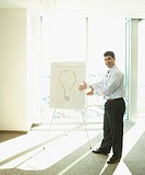 Hispanic businessman next to drawing of lightbulb