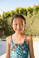 Portrait of Asian girl in bathing suit