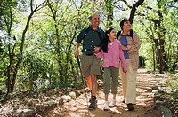 Hispanic family on nature trail