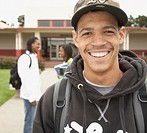 Young African man smiling on school campus