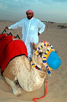 United Arab Emirates, Dubai, desert, camel-driver