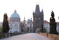 Czech Republic, Prague, Charles Bridge and Old Town Bridge Tower