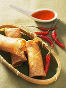 Spring rolls with sweet and sour chili sauce