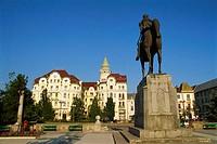 Romania, Crisana Region, Bihor County, Oradea, Piata Unirii, Town Square, Mihai Viteazul Statue