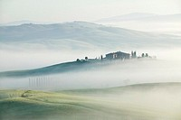 Italy, Tuscany, misty landscape, elevated view